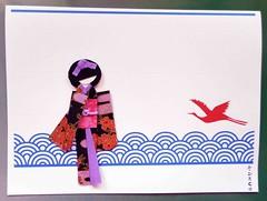 Doll card_red crane above blue waves (tengds) Tags: flowers white black waves crane lilac card kimono obi origamipaper papercraft japanesepaper washi ningyo chiyogami bluewaves yuzenwashi redcrane japanesepaperdoll washidoll origamidoll tengds