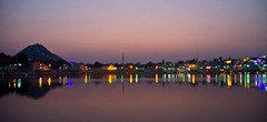 Pushkar sarovar lights and hill (Sapna Kapoor) Tags: light india worship pushkar rajasthan ghat holyplace sarowar