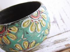 Painted Yellow Flower Wood Bracelet (WiredOrchid) Tags: wood painted clay bracelet polymer