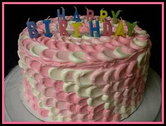 Pink and white petal cake by Wendy, Jacksonville, FL, www.birthdaycakes4free.com
