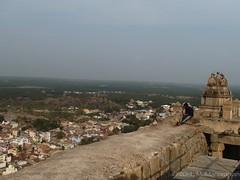 Entrance Kopura (tower) overlooking the city (manoba) Tags: india karnataka bahubali jaintemple shravanabelagola monolithicstatue gommateshvara jainbasadi