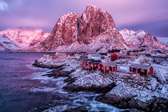 The Glow of an Arctic Dawn...at Noon (Kristin Repsher) Tags: winter norway norge fjord lofoten reine nordnorge arcticcircle lofotenislands rorbuer reinefjord northernnorway arcticlight fishermanscabins arcticwinter hamnøya eliassenrorbuer