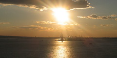 Late evening, New York Harbor (Skellig2008) Tags: nyc sunset newjersey cranes statueofliberty newyorkharbour newyorksunset 123114 311214