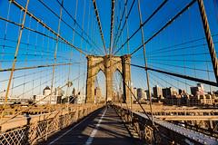Brookly Bridge (oncearoundtheworld) Tags: old city travel bridge sunset shadow usa ny newyork reflection beautiful architecture modern brooklyn america skyscraper us manhattan wideangle brooklynbridge northamerica destination hudson hdr impressive