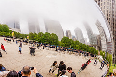 Heavy fog moves into Chicago today (TAC.Photography) Tags: chicago fog reflections cloudgate thebean