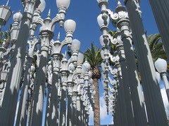 Lamp posts: these were collected over years by the artist, whose name escapes me but who died very recently (rasputina2) Tags: county sculpture art lamp museum garden lights losangeles posts lacma