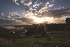 Blissful Beauty - Pennard (Harriet Rose Scanlon) Tags: light portrait sun clouds self out landscape photography warm view natural harriet flare washed gaze scanlon reawakening pennard
