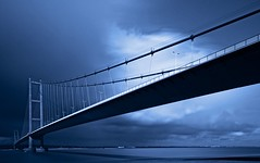 Blue.... (klythawk) Tags: longexposure blue sunlight white black clouds reflections river sony yorkshire lincolnshire suspensionbridge humberbridge humber kingstonuponhull singlespan 1635mm klythawk a7ll