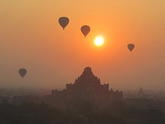 Sunrise in Bagan (Give-on) Tags: sunrise pagoda burma myanmar bagan hotballoon