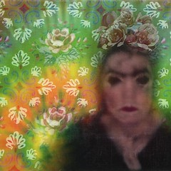 Frida Moderne (MacroMarcie) Tags: flowers roses selfportrait art floral modern dark square inspired frida moderne mysterious twisted kahlo justaposition selfi