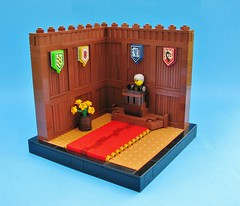 High Court of Eslandola (gid617) Tags: wood flowers blue red brown wall court panel lego background rug effect vignette shields vig minifigures