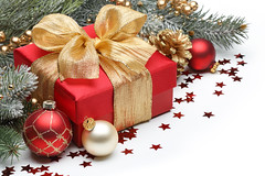 Decorated Christmas gifts (raudn) Tags: china christmas new xmas red white holiday color retail pine ball paper festive gold golden shiny branch image box sale anniversary background object year group decoration nobody celebration gift bow surprise present fir ribbon bauble package greeting