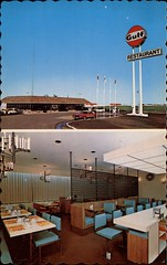 Gulf Hiway Service & Wayfare Restaurant, Moose Jaw, Saskatchewan (SwellMap) Tags: architecture vintage advertising design pc 60s fifties postcard suburbia style kitsch retro nostalgia chrome americana 50s roadside googie populuxe sixties babyboomer consumer coldwar midcentury spaceage atomicage