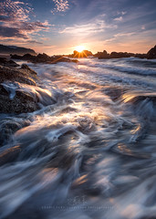 Golden Sunshine (agapicture) Tags: light sea sky seascape water sunshine clouds sunrise rocks waves seascapes stones taiwan