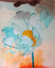 DSC09592 (scott_waterman) Tags: blue ink watercolor painting paper lotus gouache bluehue lotusflower scottwaterman