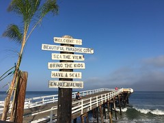 Welcome to Paradise.  No filter needed  (megmcabee) Tags: ocean california blue sky signs pier paradise pacific cove malibu palmtree