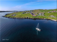 Whalsay (Ivan Reid) Tags: travel blue summer sky holiday weather yacht calm aerial traveling shetland ze2 whalsay voe northvoe