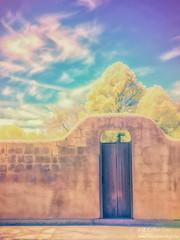 Santa Fe Gate (inlightful) Tags: trees sky painterly newmexico santafe southwest clouds ir gate adobe infrared nir falsecolor nearinfrared