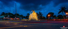 Florida Life: Fountain Bleu (Thncher Photography) Tags: street longexposure nightphotography statue landscape waterfall traffic florida sony scenic stuart palmtrees tropical fullframe fx waterscape sailfish southeastflorida noctography zeissfe1635mmf4zaoss a7r2 ilce7rm2 sonya7r2