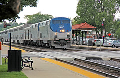 The Chief Does Hinsdale (craigsanders429) Tags: amtrak amtraktrains passengertrains passengercars amtraksuperliners p42dc amtrakp42locomotives amtrakp42dc amtrakp42dcno25 amtrakssouthwestchief bnsfracewayinchicago hinsdaleillinois tracks railroadtracks metrastations
