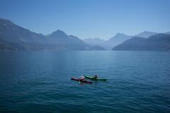 canoe patrol @ Lake Lucerne . Switzerland (Toni_V) Tags: m2400917 rangefinder messsucher leicam leica mp typ240 35lux 35mmf14asph 35mmf14asphfle summiluxm lake see vierwaldstttersee luzern lucerne alps alpen luzernersee lakeoflucerne kanu canoe weggis vitznau schifffahrt switzerland schweiz suisse svizzera svizra europe landscape seascape toniv 2016 160824