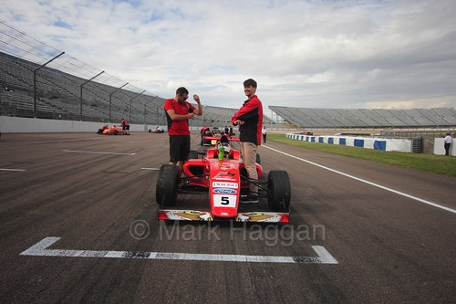 Frank Bird on the grid before the British F4 race at Rockingham, August 2016