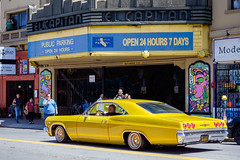 triples tomboyishness (bhautik joshi) Tags: bhautikjoshi bayarea missiondistrict car parking themission mission lowrider california parked vehicle sanfrancisco sfist sf yellow elcapitan unitedstates us