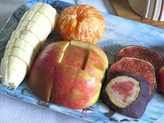 4560 Fruit tray and coffee still life (Andy - Daft as a brush - don't ask!) Tags: 20161001 aaa apple banana bbb blue ccc coffee fawn fff fig fruit mmm mug orange red rrr stilllife tablecloth tangerine tray ttt