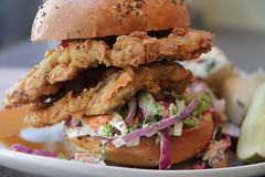 Chicken Mushroom Sandwich (Indiana Public Media) Tags: chickenmushrooms battered deepfried sandwich flour dredge coleslaw