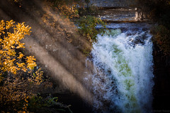 Minnehaha Falls in Autumn (michaelraleigh) Tags: 200mm hiawatha landscape f28l serene highquality minneapolis canon fall minnehaha sun waterfall water trees beautiful hidden infocus sunset secluded outdoors green canoneos5dmarkii red closeup minnesota