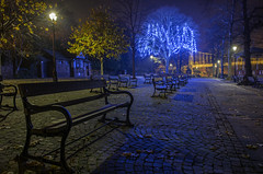 The Calming (alundisleyimages@gmail.com) Tags: christmas longexposure bridge trees england nature night reflections bench streetlight chester cobbles riverdee romancity