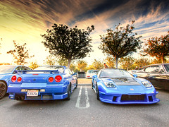 Two Japanese Legends - Nissan Skyline and Honda NSX (Winning Agent) Tags: auto california morning sky coffee car japan skyline clouds honda japanese automobile unitedstates saturday import carshow irvine nsx carporn nissangtr acuransx carmeet hondansx irvinecalifornia irvinecarsandcoffee