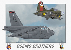 Flying Fortress and Stratofortress (blackheartart) Tags: art airplane aircraft aviation b17 caricature boeing fortress warbirds fairchild flyingfortress bombers b52 stratofortress 92ndbg boeingbrothers