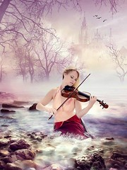 Kelly living in a fantasy (AndyG01) Tags: beach violin kelly budleigh salterton