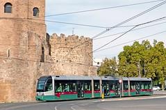 ATAC Rome: 9116 FIAT ROMA-I class arriving at P Ostiense (Piramide Metro) on Line 3 (Mega Anorak) Tags: italy rome roma italia fiat tram streetcar trolleycar tramcar atac romai postiense