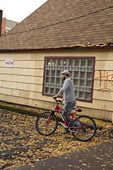 1929 Autumn Biker (eyepiphany) Tags: autumn fall bike graffiti streetphotography foliage portlandoregon autumnal stumptown streetfashion bicylce streetfashionphotography autumntableau stumptownfashion portlandcasual portlandcazl portlandfashion365daysayear portlandfashiontrends fallfashion2014 cabledgreysweaterandnewsboycap