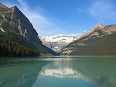 Banff NP ~ iconic Lake Louise (karma (Karen)) Tags: trees canada mountains topf25 reflections lakes pines alberta glaciers lakelouise 4summer canadianrockies banffnp cmwdblue canadanationalparks
