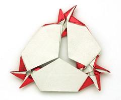 Fujimoto multi Rosettes on a branch 180 variation back (Pliages et vagabondages) Tags: star origami rosette décoration étoile fujimoto