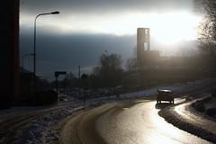 Högsbo (blondinrikard) Tags: road street winter light snow church car silhouette backlight göteborg december sweden silhouettes 2014 silhuett högsbogatan siluett högsbo västragöteborg högsbokyrka