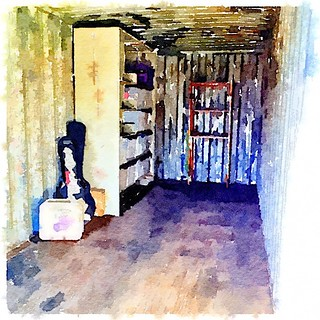 019/365 • the inside of our shipping container • #019_2015 Painted in #Waterlogue #shippingcontainer #movingout #sevendaystogo #bellaluna #packing