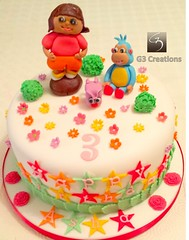 Dora 3rd birthday cake (G3 Creations (Nikis Cakes)) Tags: flowers london stars richmond birthdaycake westlondon chocolatecake harrow edgware fondant pinner sugarcraft sugarflowers celebrationcakes sugarmodelling g3creations