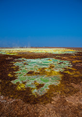 The colorful volcanic landscape of dallol in the danakil depression, Afar region, Dallol, Ethiopia (Eric Lafforgue) Tags: africa travel lake color tourism nature pool beauty vertical landscape outdoors volcano spring colorful solitude day desert natural earth acid horizon surreal nobody nopeople formation serenity heat minerals environment sulphur isolation geography copyspace geology ethiopia hotspring volcanic saline geothermal interest arid ecosystem hornofafrica afar eastafrica geological abyssinia afarregion dallol danakildepression ethio162044