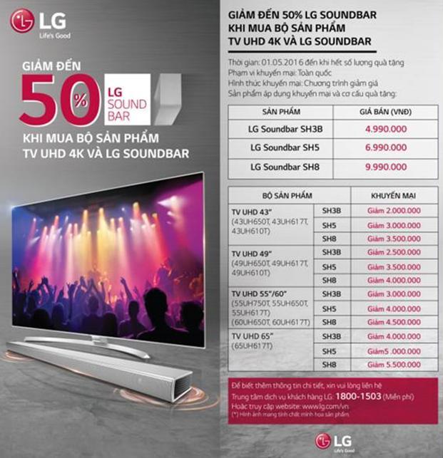 Ưu đãi giảm giá đến 50% khi mua bộ sản phẩm TV UHD 4K & LG Soundbar
