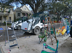 ALL DONE! (BKHagar *Kim*) Tags: street carnival people trash beads chairs neworleans crowd cleanup cups napoleon nola mardigras ladders throws sweepers rakes bkhagar