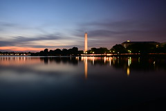 Washington Monument, Washington DC (Samd7000) Tags: longexposure sunset usa monument water night clouds reflections lights washingtondc dc washington districtofcolumbia waterfront outdoor dusk ngc washingtonmonument potomacriver nga unedited tidalbasin