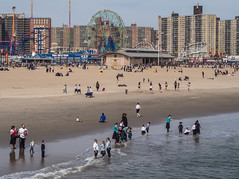 Wishing for Spring (annadelf) Tags: beach coneyisland spring sand shore wading passover clothedbathers
