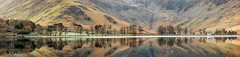 Buttermere serenity (Pete Rowbottom, Wigan, UK) Tags: lighting uk trees light england panorama sun lake mountains reflection nature water sunrise wow landscape dawn nationalpark spring still stream britain lakedistrict earlymorning dramatic calm haystacks wainwright pines shore cumbria attractive scree serene colourful stillwater nikkor awe thelakes buttermere waterreflections englishlakes thelakedistrict fleetwithpike visitengland uklandscape peterowbottom nikond750