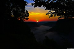 Grand Sunrise (J and A's Photography) Tags: park new york morning sky usa sun newyork beautiful fog clouds sunrise canon amazing colorful natural state canyon cny letchworth letchworthstatepark gorge revine nysland
