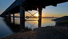 Underneath the arches (Through Bri`s Lens) Tags: sun sussex riverbank railwaytrack shorehambysea lancingcollege riveradur southcoastmainline