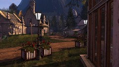 Rural Fare (alexandriabrangwin) Tags: world road old flowers trees windows mountains dusty grass rural buildings computer garden 3d graphics track village country cottage dirt secondlife virtual lane lanterns boxes quaint planter cgi chinmey alexandriabrangwin